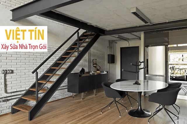 Cầu thang bằng sắt thiết kế theo phong cách tối giản
