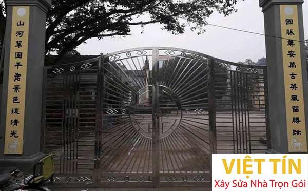mẫu cổng 4 cánh dùng cho đình làng
