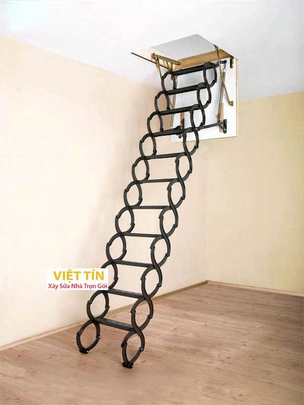 mẫu số 50 cầu thang sắt thông minh loại xếp