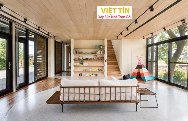 trần nhôm C giả gỗ mang đến không gian hiện đại