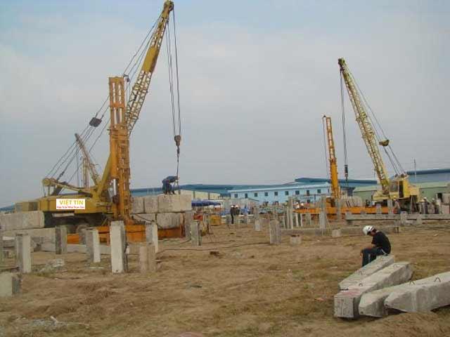 Ép cọc bê tông bằng robot được thực hiện cho các công trình có quy mô lớn với độ chính xác cao